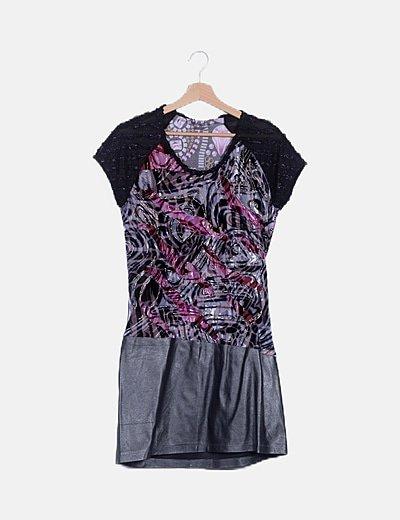 Vestido mini combinado estampado