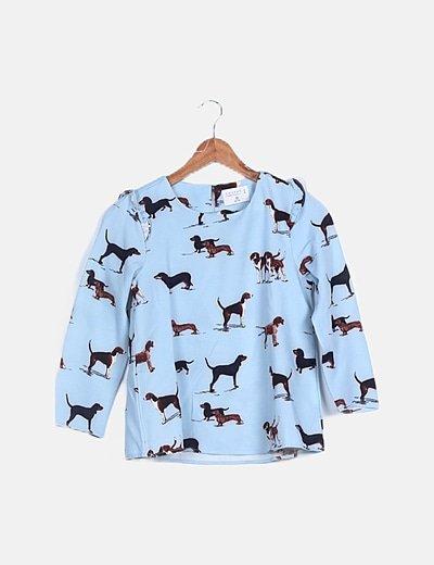 Conjunto blusa y pantalón azul print perros