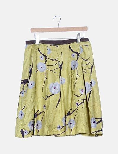 Falda midi pistacho estampada