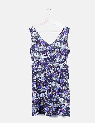 Vestido azul marino print floral con aberturas
