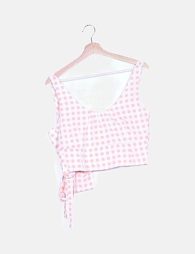 Conjunto crop top y falda cuadros rosas