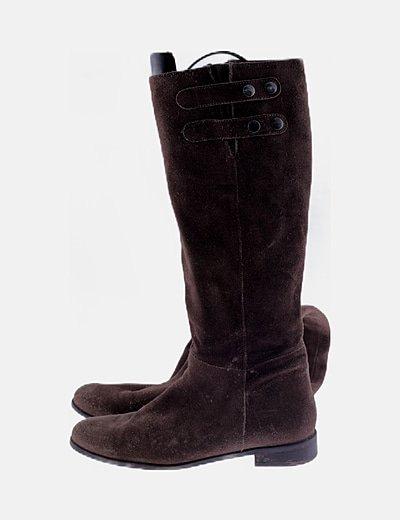 Botas altas serraje marrón