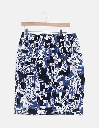 Falda midi azul estamapada
