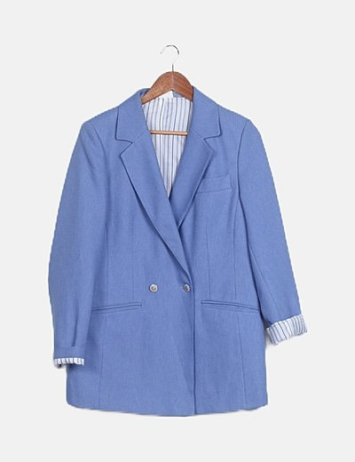 Blazer azul abotonada