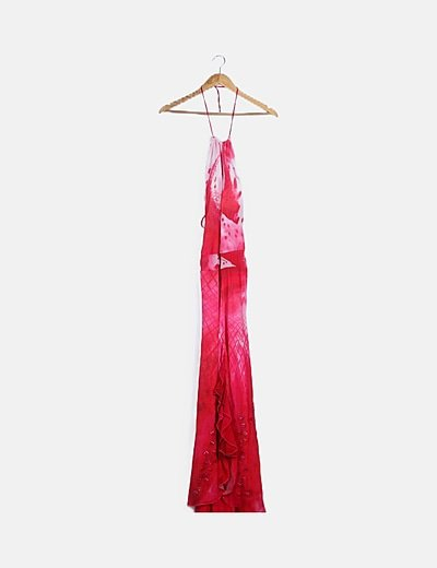 Vestido de fiesta rosa halter