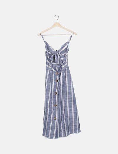 Vestido tirantes azul rayas blancas