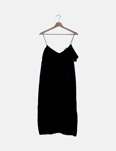 Vestido tirantes satén negro volante
