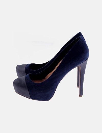 Zapato de tacón azulo marino c ombinado