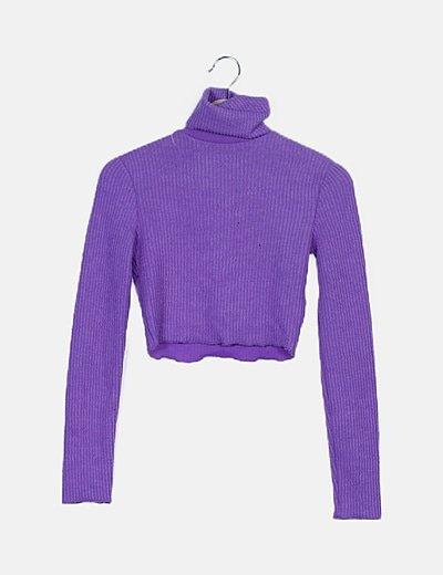 Suéter crop canalé morado