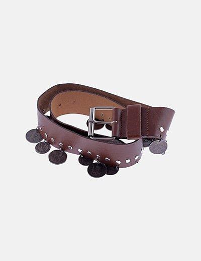 Cinturón marrón monedas