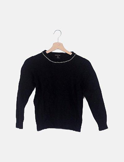 Jersey negro cuello con strass