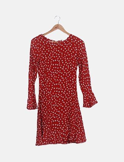 Vestido rojo estampado floral