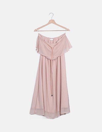 Vestido maxi rosa glitter