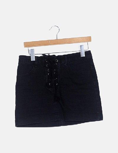 Falda denim negra lace up