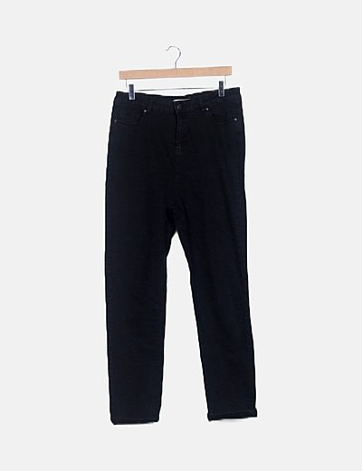 Pantalón denim negro high waist