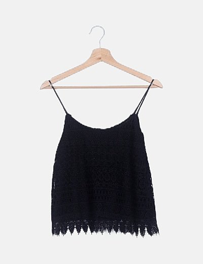 Blusa encaje negra texturizada