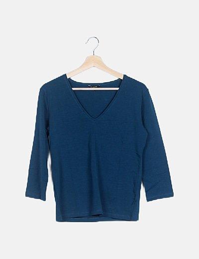 Suéter azul petróleo escote pico
