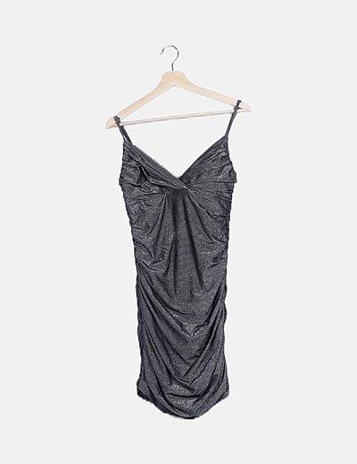 Vestido drapeado glitter