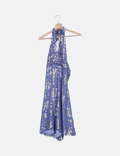 Vestido azul glitter cuello halter