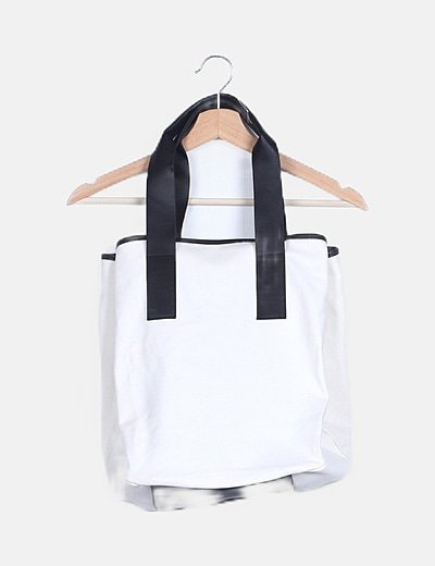 Bolso shopper lona blanco y negro