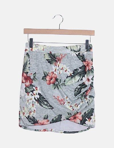 Mini falda gris tropical