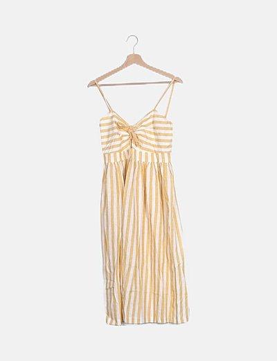 Vestido midi lino rayas amarillas