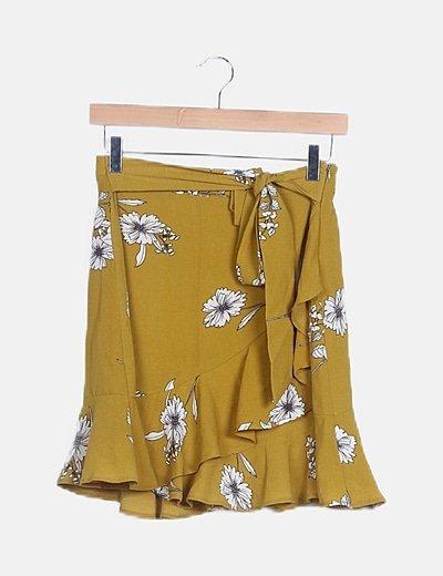 Falda cruzada pistacho floral