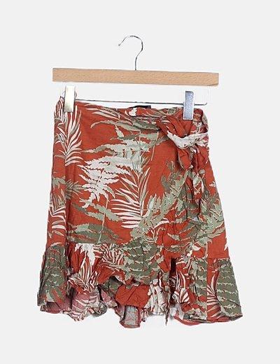 Falda pareo teja estampado tropical