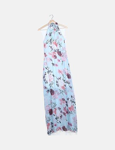 Vestido gasa halter azul floral