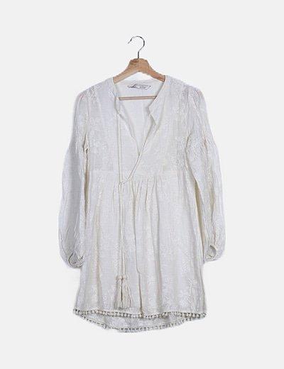Vestido boho blanco manga bombacho