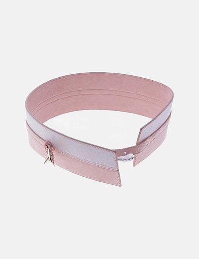Cinturón fajín rosa y blanco