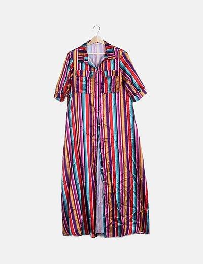 Vestido maxi rayas bicolor