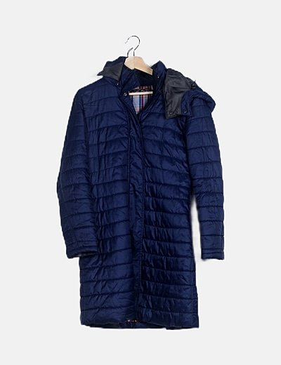 Abrigo largo acolchado azul marino