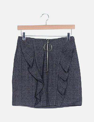 Falda mini cuadro galés gris