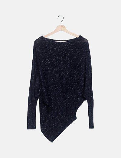 Jersey tricot negro jaspeado