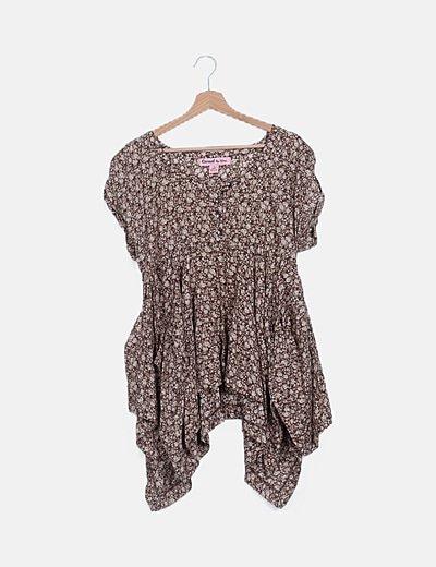 Blusa asimétrica marrón print floral