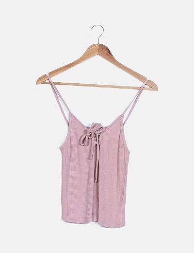 Top tirantes tricot rosa