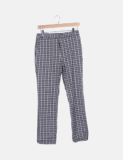 Pantalón chino gris de cuadros