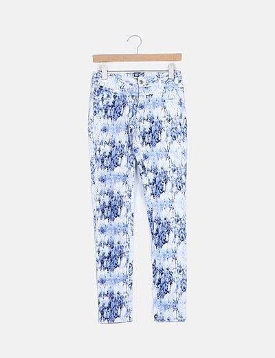 Jeans denim pitillo print azul