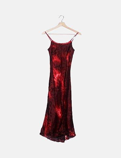 Vestido midi rojo irisado