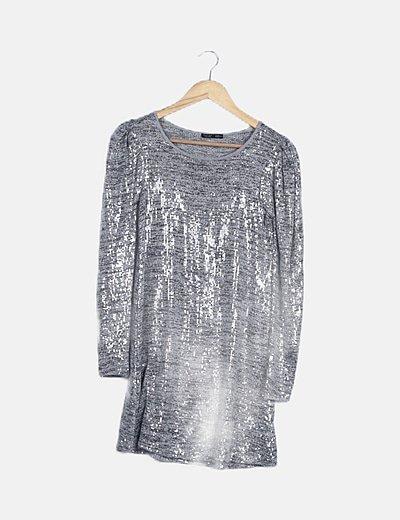 Vestido gris jaspeado lentejuelas