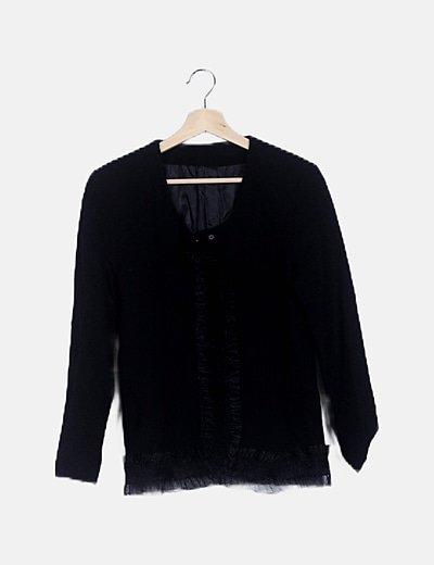 Blazer negra escote drapeado