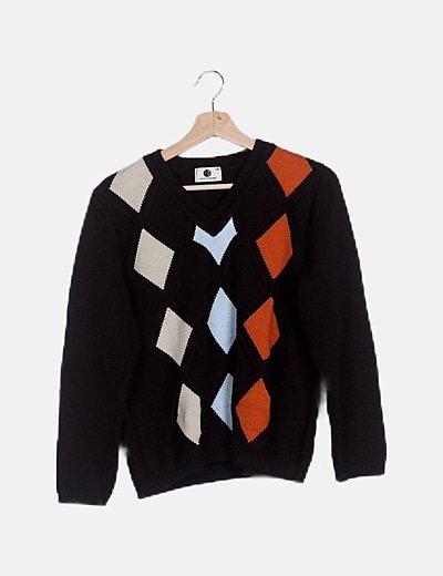 Jersey tricot marrón de rombos