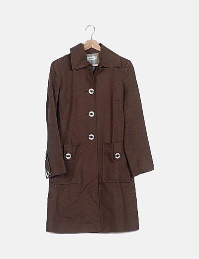 Abrigo largo texturizado marrón