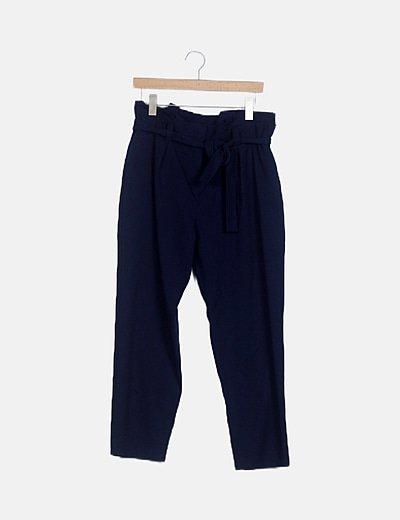 Pantalón fluido azul detalle lazo
