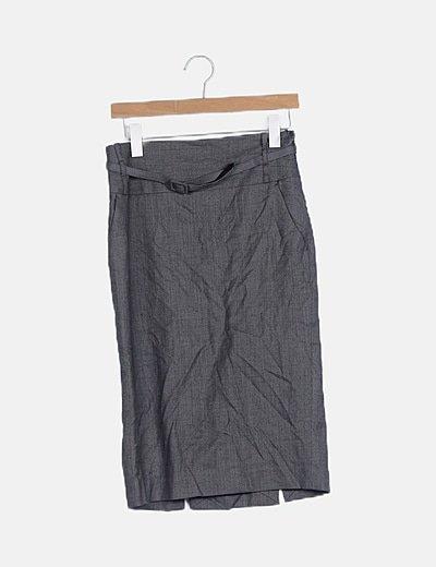 Falda midi gris estampada