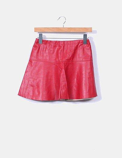 Mini falda polipiel roja