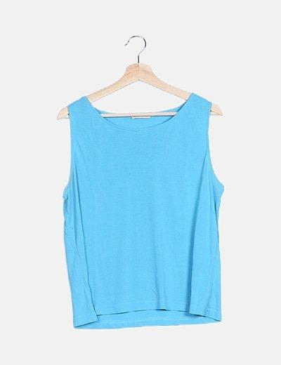 Blusa fluida azul sin mangas