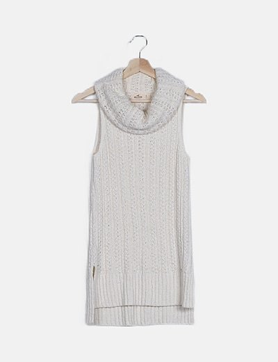 Jersey largo lana blanco cuello vuelto