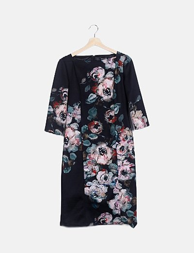 Vestido maxi negro floral